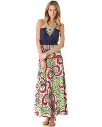 T-bags - Print Maxi Dress with Beaded Bib - Lyst