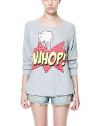 Zara Whop Velour Sweater gray - Lyst