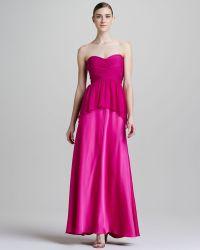 Aidan Mattox Strapless Peplum Combo Gown - Lyst