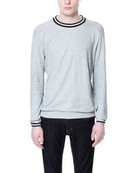 Zara Sweatshirt with Striped Collar - Lyst