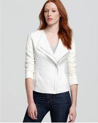 Vince Jacket Linen Asymmetric Leather Sleeve - Lyst