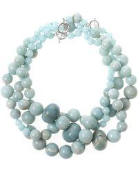 Oscar de la Renta Three Strand Beaded Necklace blue - Lyst