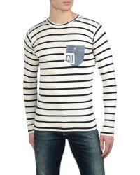 Armani Jeans Lightweight Cotton Striped Sweater Denim Pocket - Lyst