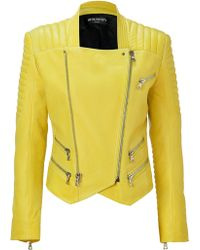 Balmain Sunshine Lambskin Biker Jacket - Lyst