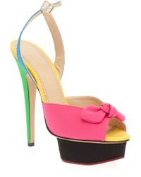 Charlotte Olympia Platform Sandals with Bow - Lyst