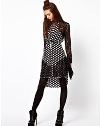 ASOS Collection Asos Shirt Dress with Lace Panel in Spot Print - Lyst