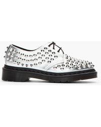 Dr. Martens Metallic Silver Studded 3eye Harlen Shoes - Lyst