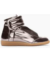 Maison Margiela Metallic Pewter Patent Leather Padded Sneakers - Lyst
