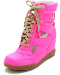 Marc By Marc Jacobs Neon Cutout Wedge Sneakers pink - Lyst