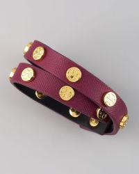 Tory Burch Logostudded Saffiano Wrap Bracelet - Lyst