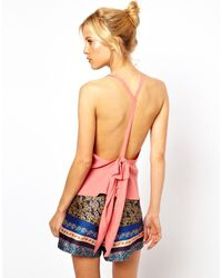 ASOS Collection Asos Cami with Open Back and Bow - Lyst