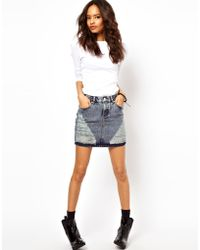 ASOS Collection Mini Skirt in Ripped Denim - Lyst