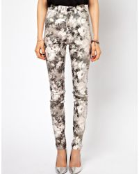 Just Female - Stroke High Waist Skinny Jeans in Floral Print - Lyst