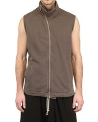 Rick Owens Distressed Cotton Fleece Sleeveless Vest - Lyst