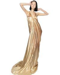 Rick Owens Techno Silk Cellophane Long Dress gold - Lyst