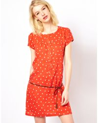 Sessun Polka Dot Dress with Puff Sleeves and Tie Belt - Lyst