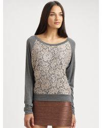 Haute Hippie Lace Trim Silk Sweatshirt - Lyst