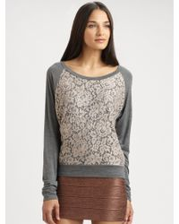 Haute Hippie Lace Trim Silk Sweatshirt gray - Lyst