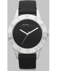 Marc By Marc Jacobs Stainless Steel Logo Matte Leather Watch/Black - Lyst