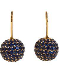 Shamballa Jewels - Pave Sapphire Ball Drop Earrings - Lyst