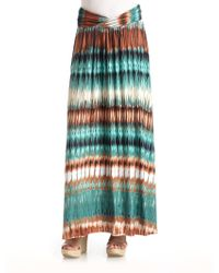 Torn - Print Jersey Maxi Skirtteal - Lyst
