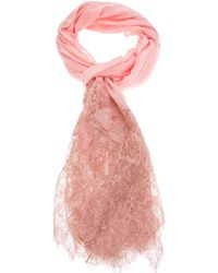 Valentino Lace and Knit Scarf pink - Lyst