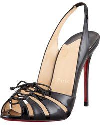 Christian Louboutin Corsetica Patent Leatherpvc Slingback Red Sole Sandal - Lyst