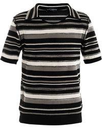 Dolce & Gabbana Spread Collar Mesh Knit Sweater - Lyst