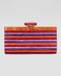 Overture Judith Leiber - Monica Striped Resin Clutch Bag Fuchsia - Lyst