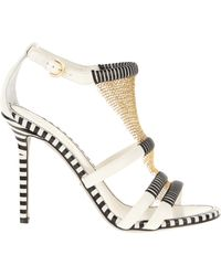 Sergio Rossi Strappy Sandals in Black and White Leather - Lyst