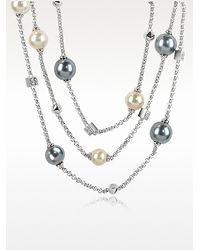 Az Collection Glass Pearl Triple Chain Necklace - Lyst