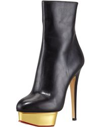 Charlotte Olympia Lucinda Golden Platform Ankle B - Lyst