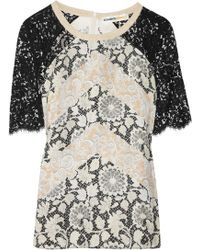 Clements Ribeiro - Josephine Printed Silk and Lace Top - Lyst