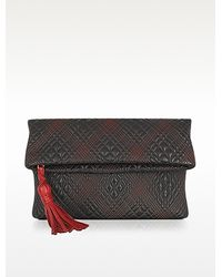 Fontanelli Black Quilted Leather Clutch - Lyst
