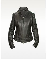 Forzieri Black Natural Leather Motorcycle Jacket - Lyst