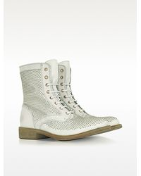 Lemarè White Studded Leather Boot - Lyst
