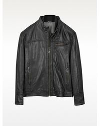 Moreschi Burgos Black Leather Motorcycle Jacket - Lyst