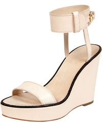 Elizabeth and James - Brit Ankle Cuff Wedge Sandal Natural - Lyst