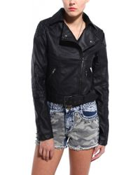 Akira Black Label Quilted Pu Moto Jacket - Lyst