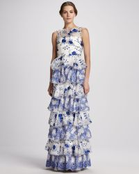 Alice + Olivia Tiered Lace Gown - Lyst