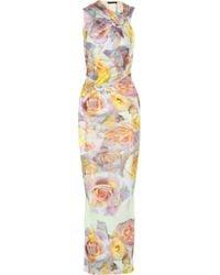 Aminaka Wilmont - Printed Stretch-Sateen Jersey Maxi Dress - Lyst