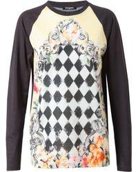 Balmain Baroque Floral Printed Cotton Top black - Lyst