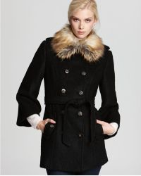 Laundry by Shelli Segal Belted Double Breasted Wool Coat with Faux Fur Collar - Lyst