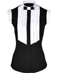 L'Wren Scott Black white Cotton Blend Top - Lyst