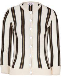 L'Wren Scott Creamblack Striped Cashmere Cardigan - Lyst