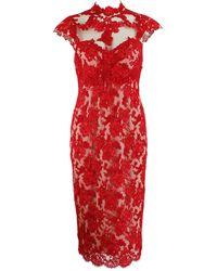 Marchesa Illusion Appliqu Lace Dress white - Lyst