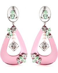 Miu Miu Mirrored Drop Clipon Earrings pink - Lyst