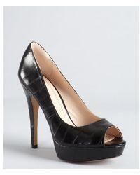 Pour La Victoire Black Textured Leather Stitched 'Angelie' Platform Pumps - Lyst