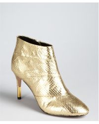 Pour La Victoire Gold Snake Embossed Leather Emmy Ankle Boots - Lyst