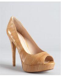 Pour La Victoire Tan Textured Leather Stitched 'Angelie' Platform Pumps - Lyst